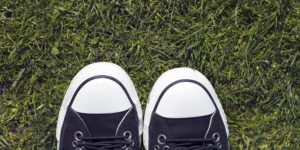 Sneakers on grass